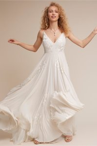 BHLDN Ivory Chiffon Dreams Of You Feminine Wedding Dress Size 8 (M)