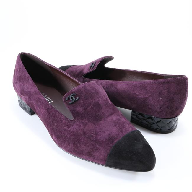 Chanel Purple Burgundy Black 25 Quilted Heel Mocassins Loafers Cc Logo B723 Flats Size EU 40.5 (Approx. US 10.5) Regular (M, B) Chanel Purple Burgundy Black 25 Quilted Heel Mocassins Loafers Cc Logo B723 Flats Size EU 40.5 (Approx. US 10.5) Regular (M, B) Image 1