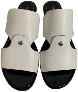 Proenza Schouler Studded Leather Open Toe Cut Out White Sandals