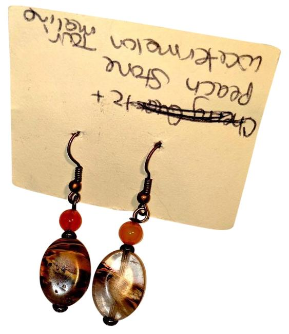 Item - Brown Orange. Copper New Peach Stone & Turmaline Gemstone J3673 Earrings