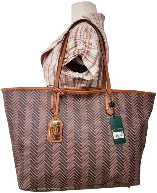Item - Tote Shopper Brown Leather and Synthetic Shoulder Bag