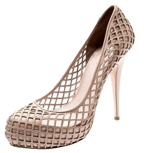 Miu Miu Leather Platform Beige Pumps