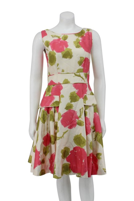 Item - Pink / Green W New Floral Silk Fit & Flare W/Pockets Short Work/Office Dress Size 2 (XS)