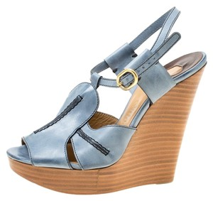 6fc26cb677 Chloé Leather Peep Toe Platform Wedge Blue Sandals