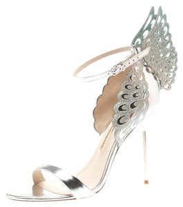 Sophia Webster Metallic Leather Glitter Open Toe Silver Sandals