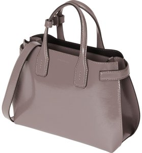 Burberry Banner Glossy Crossbody Tote in Sepia Grey