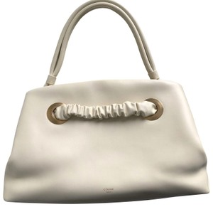 Céline Eyelet Purse Small Eyelet Purse Eyelet Clutch Old Eyelet Tote in Shiny Cream