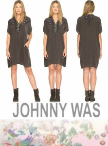 Johnny Was short dress Gray Silk Tunic Silk Embroidered Silk Top Side Pockets Top Cap Sleeve Silk Top on Tradesy