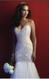 Allure Bridals White/Silver Ivory/Silver Lt Gold/Ivory/Silver Light Layers Of Tulle + Couture Style C362 Formal Wedding Dress Size 4 (S)