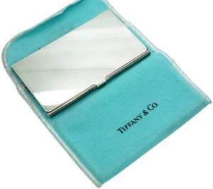Tiffany & Co. Silver Plate Solid Business Card Holder with Pouch