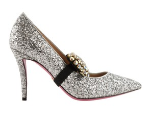 Gucci Glitter Crystal Leather Silver Pumps