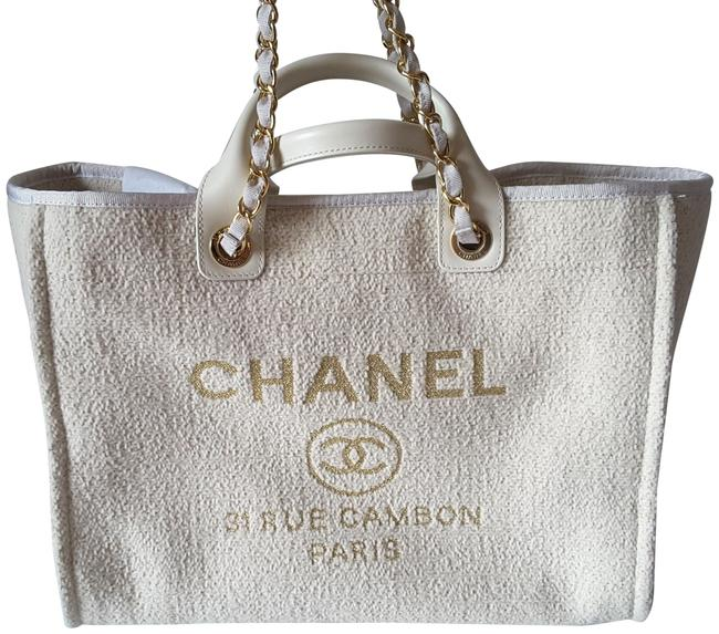 Item - Deauville 2019 Large Shopper Ivory/Gold Canvas Tote