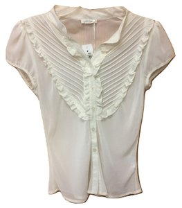 7746efc39cd8b Millau Short Sleeve Sheer Ruffle Pleated Top White Cream
