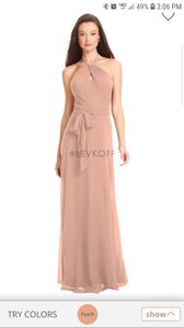 Bill Levkoff Peach Chiffon Style Number 7056 Formal Bridesmaid/Mob Dress Size 14 (L)
