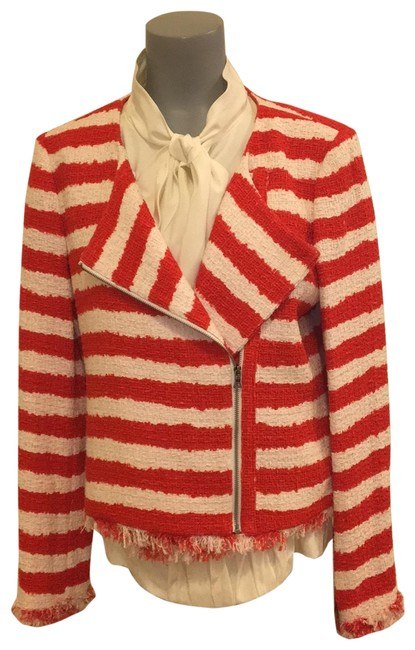 Item - Red/White Stanton Cc712o03201 Red/White Striped Tweed Cotton Jacket Size 8 (M)