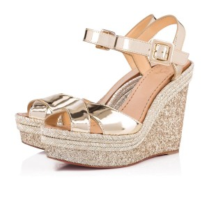 a935e981fa5a Christian Louboutin Ankle Strap Patent Leather Espadrille Shimmering Gold  Metallic Wedges