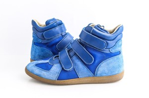 Maison Margiela Blue Suede Triple Strap Sneakers Shoes