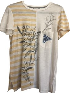 Anthropologie Halfsleeves Embroidery Dragonfly T Shirt White and yellow
