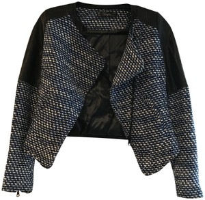 Zara Leather Accents Knit Chic Elegant Moto Blue and white Jacket