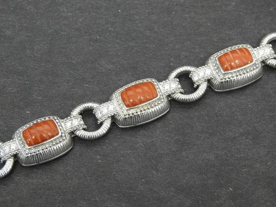 Judith Ripka Judith Ripka Sterling Silver Red Jasper & Diamonique Toggle Bracelet Image 1