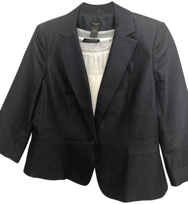 Item - Blue-gray Cotton Blend Blazer Size Petite 12 (L)