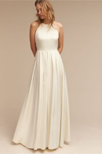 BHLDN Ivory Satin Delancey Gown Badgley Mischka Modern Wedding Dress Size 8 (M)