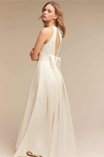 BHLDN Ivory Satin Delancey Gown Badgley Mischka Modern Wedding Dress Size 8 (M) Image 1