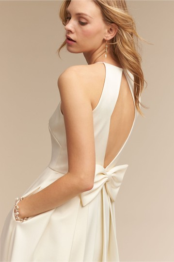 BHLDN Ivory Satin Delancey Gown Badgley Mischka Modern Wedding Dress Size 8 (M) Image 2