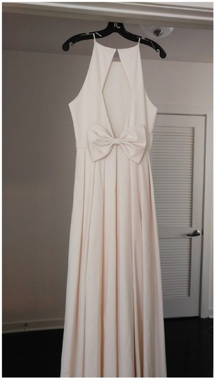 BHLDN Ivory Satin Delancey Gown Badgley Mischka Modern Wedding Dress Size 8 (M) Image 5