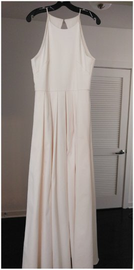 BHLDN Ivory Satin Delancey Gown Badgley Mischka Modern Wedding Dress Size 8 (M) Image 6