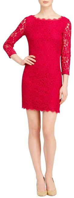 Item - Lacquer Red Zarita Lace Sheath Short Cocktail Dress Size 4 (S)