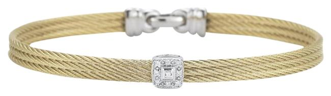 Item - Yellow Gold Cable Classic Stackable with Single Square Station Set In 18kt White Gold Bracelet