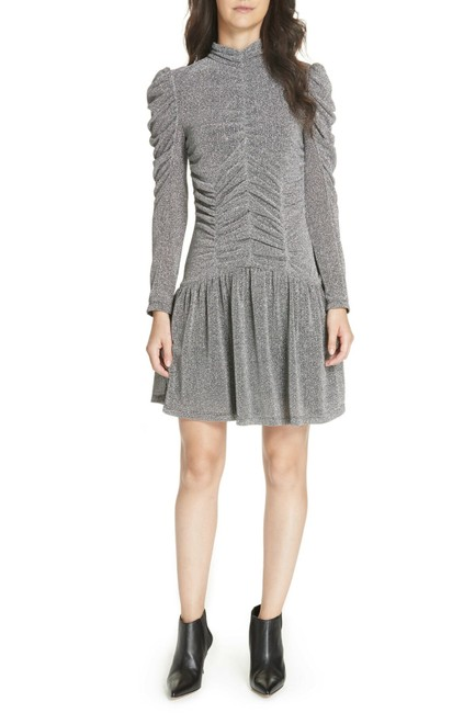 Preload https://img-static.tradesy.com/item/25547793/rebecca-taylor-silver-jersey-gathered-metallic-mid-length-night-out-dress-size-6-s-0-0-650-650.jpg