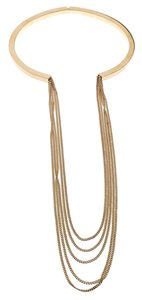Chloé Gold Tone Layered Chain and Hinge Choker Necklace