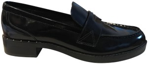 Marc Fisher Genuine Leather Studded Loafers Black Flats