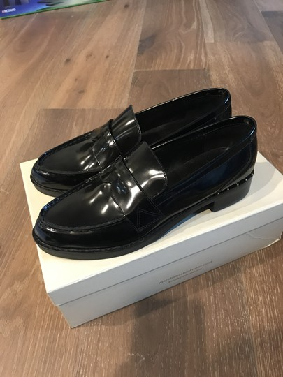 Marc Fisher Genuine Leather Studded Loafers Black Flats Image 2