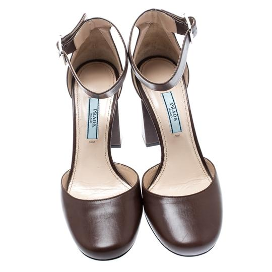 Prada Leather Ankle Strap Brown Sandals Image 1