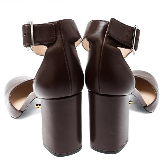 Prada Leather Ankle Strap Brown Sandals Image 2