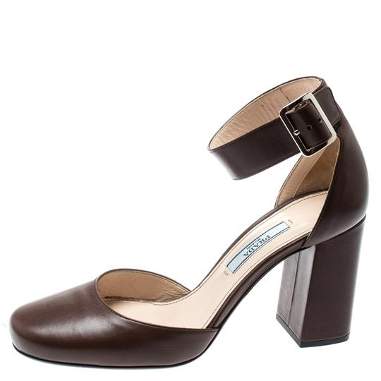 Prada Leather Ankle Strap Brown Sandals Image 3