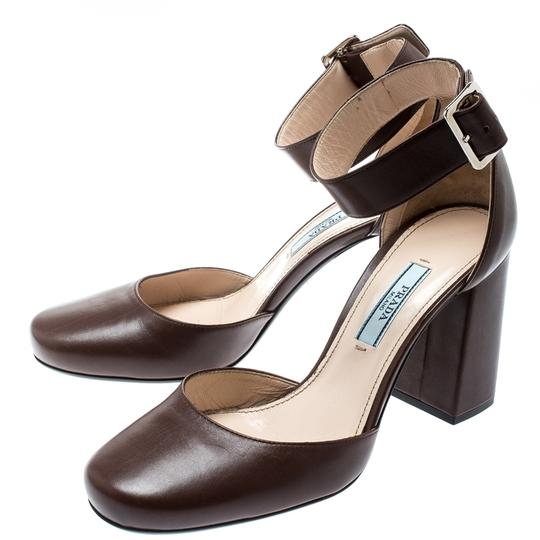 Prada Leather Ankle Strap Brown Sandals Image 4