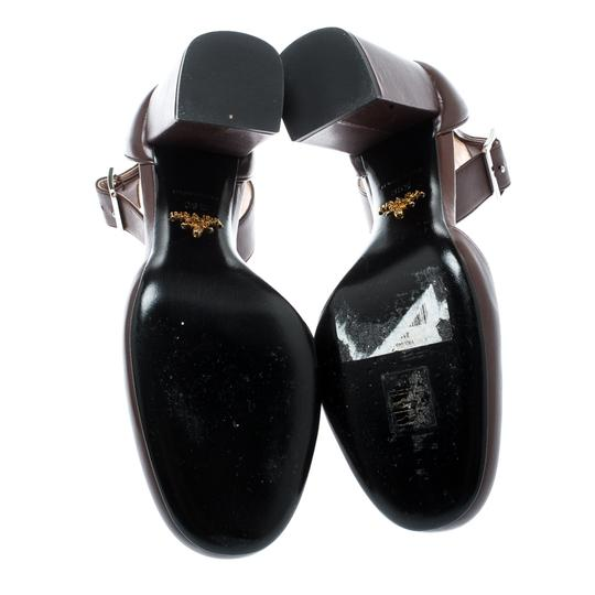 Prada Leather Ankle Strap Brown Sandals Image 5