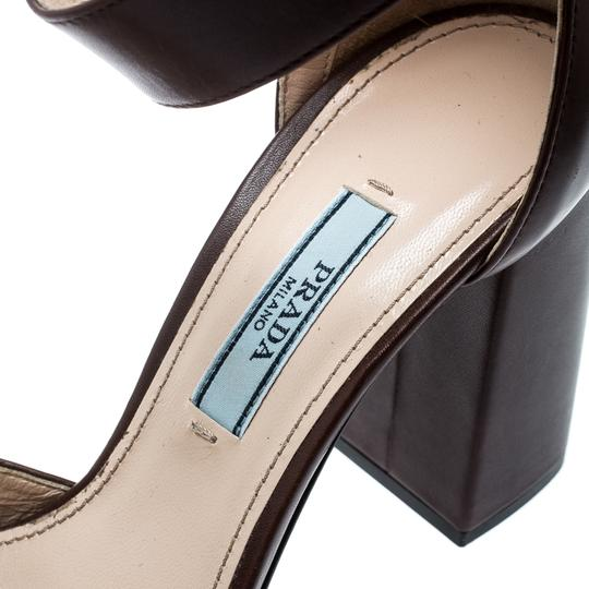 Prada Leather Ankle Strap Brown Sandals Image 6