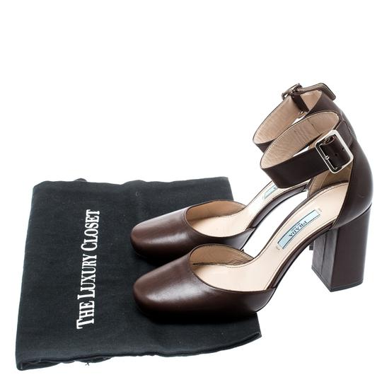 Prada Leather Ankle Strap Brown Sandals Image 7