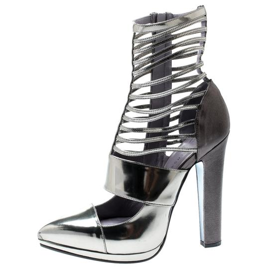Versace Leather Pointed Toe Grey Pumps Image 3