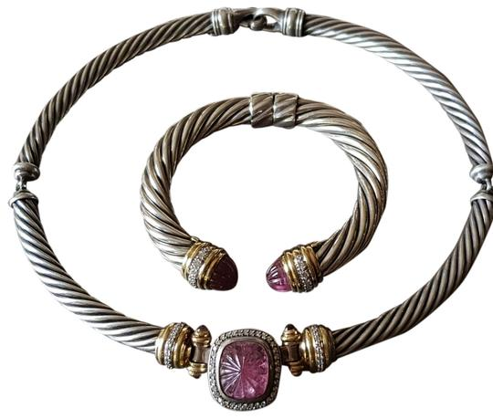 Preload https://img-static.tradesy.com/item/25548091/david-yurman-noblesse-carved-pink-tourmaline-diamond-choker-with-18k-gold-necklace-0-8-540-540.jpg