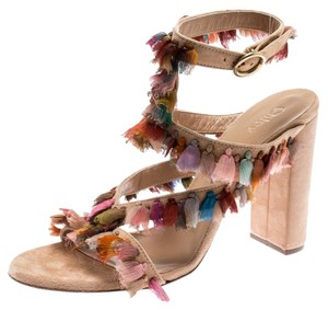 d5e65833aa Chloé Suede Silk Ankle Peep Toe Leather Multicolor Sandals