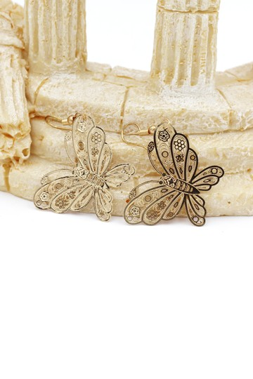 Ocean Fashion Fashion gold big butterfly earrings Image 1