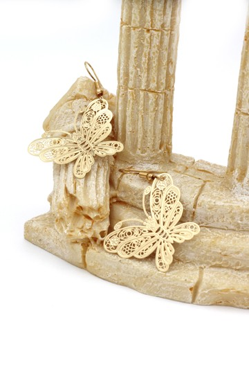 Ocean Fashion Fashion gold big butterfly earrings Image 2