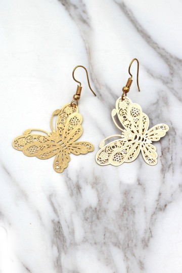 Ocean Fashion Fashion gold big butterfly earrings Image 3