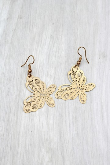 Ocean Fashion Fashion gold big butterfly earrings Image 4